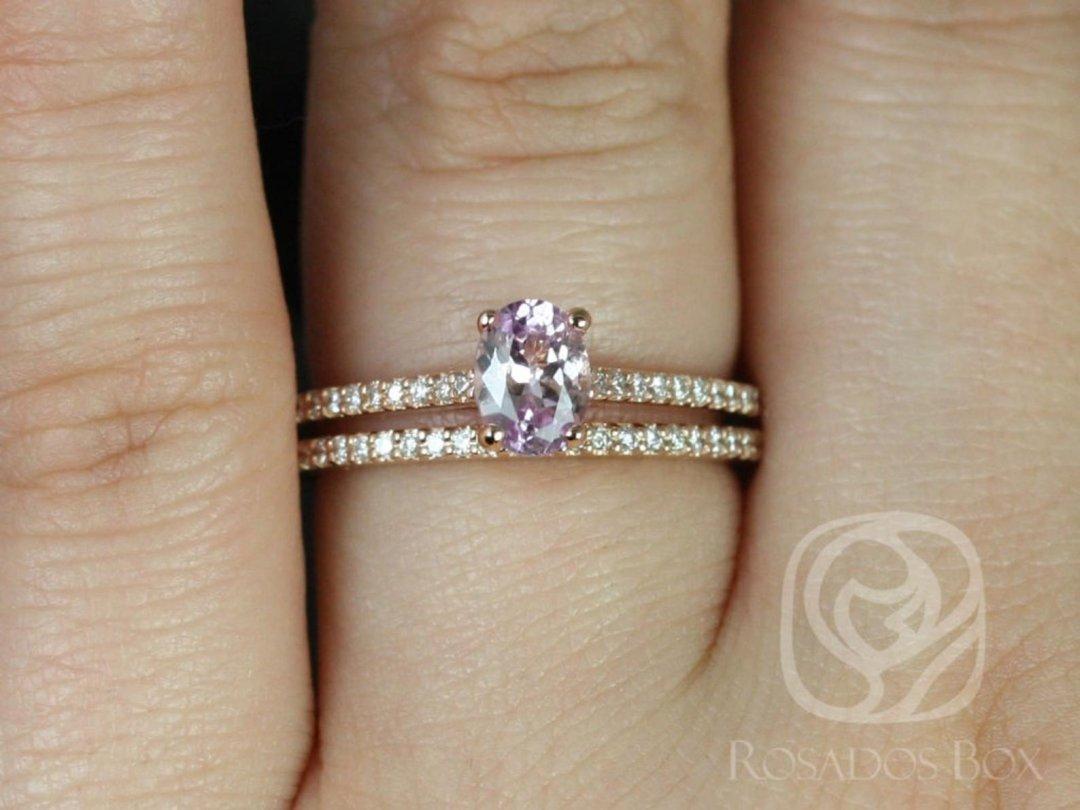 Icy Blush Lavender Sapphire Blake Wedding Set on Hand