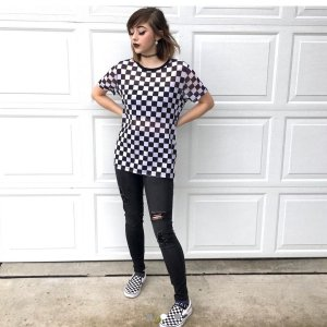 d0050c6bc34 super cute checkered mesh tee from hot topic! pair it w ur checkered vans  for