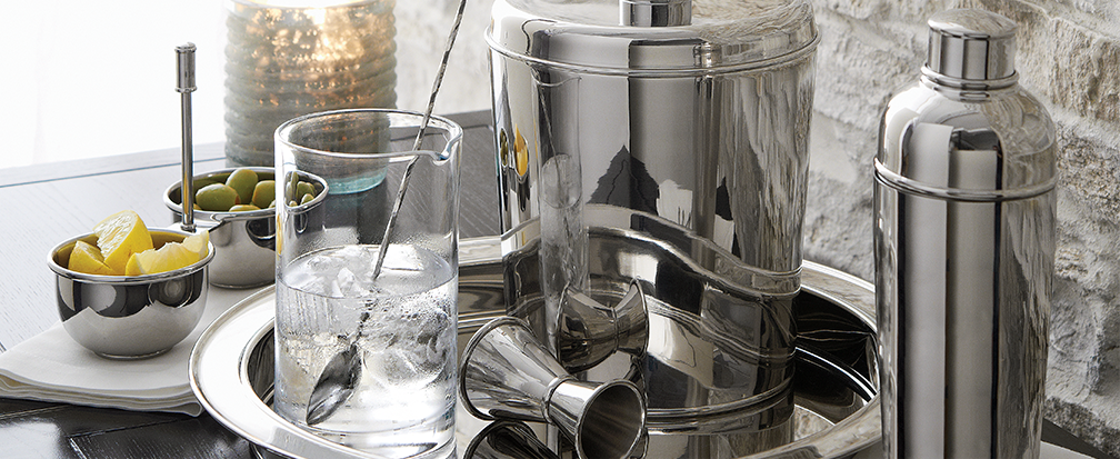 Stainless steel barware and glasses