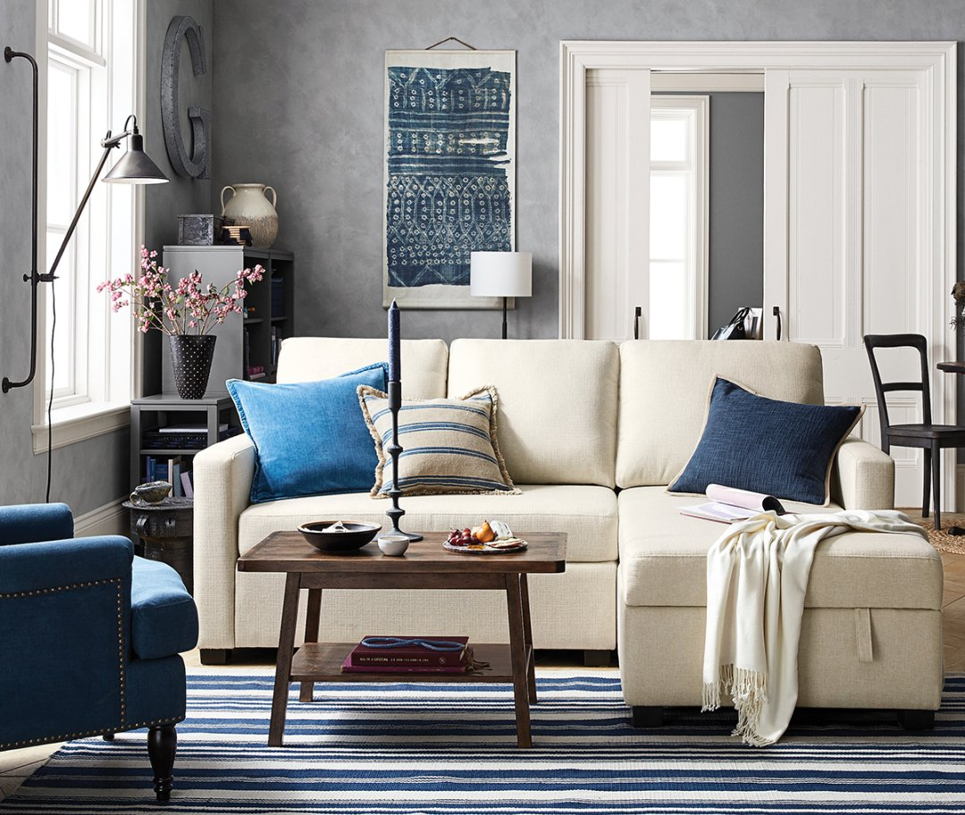 Pottery Barn Blue Living Room: Small Space, Big Style