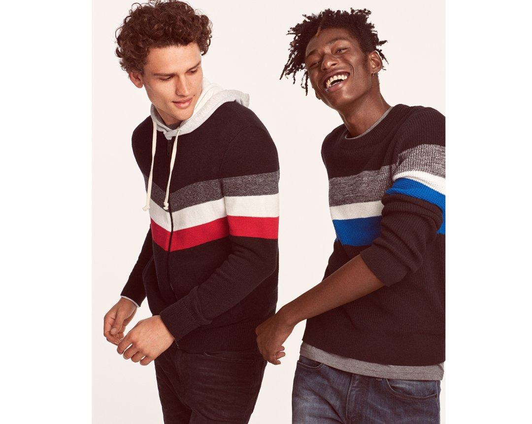Shop Chest Stripe Crew Neck Sweater Black Women's S, Chevron Zip Front Baseball Sweater Black Men's XXL Tall and more