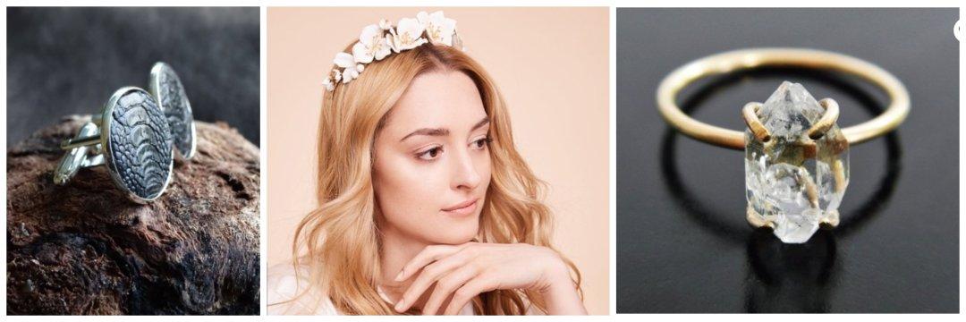 Shop Herkimer Diamant - Quarz-Verlobungsring, Fischleder Manschettenknöpfe, Hochzeitskrone aus Leder and more