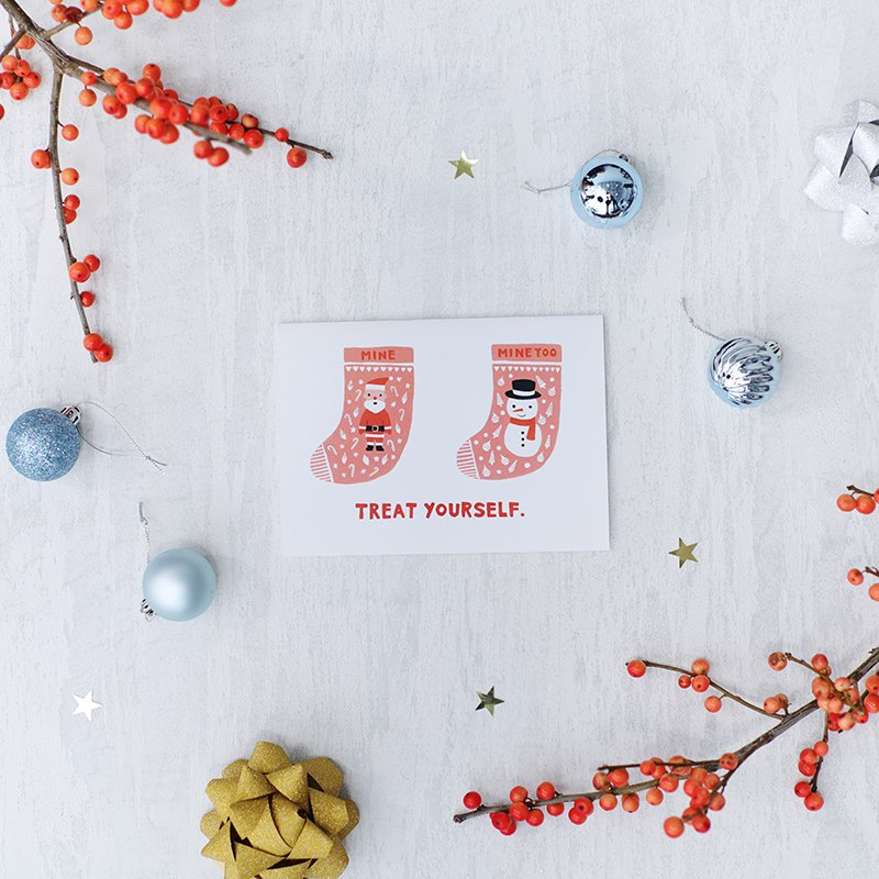 Singles friendly holiday cards that stand out from the pack etsy treat yourself holiday card from say something cards 450 solutioingenieria Choice Image