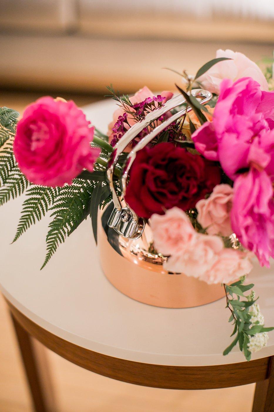 Flowers in a copper kettle
