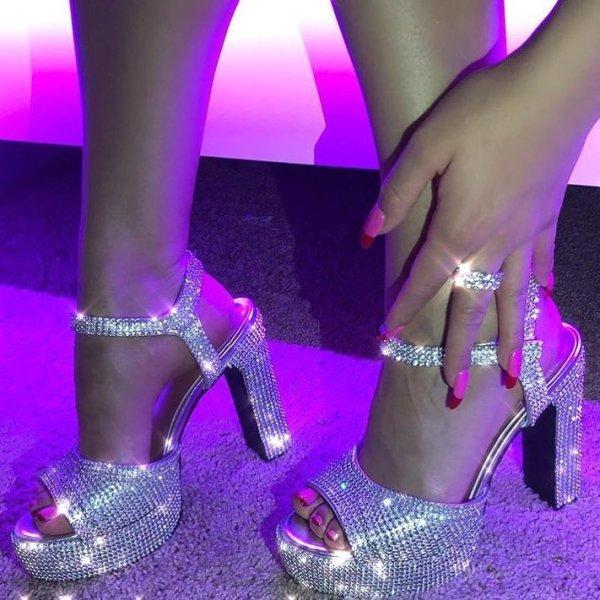 3f37524a30eb Sugar Thrillz Rhinestone Pretty Princess Platform Heels