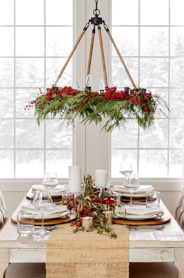 Go for rustic accent pieces like holly and pinecones