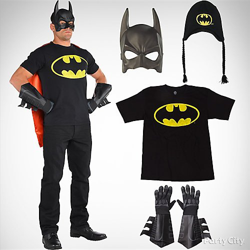 Top mens halloween costume ideas party city shop adult batman mask batman logo t shirt size child large and more solutioingenieria Images