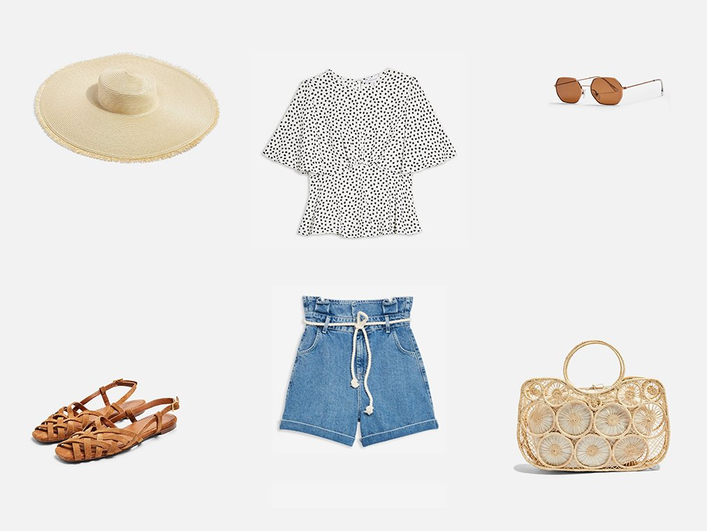 Shop Womens Austin Star Print Angel Sleeve Blouse - White, Womens Rope Belt Paper Bag Denim Shorts - Mid Stone, Womens Frayed Oversized Straw Hat - Natural, Womens Olivia Strappy Slingback Sandals - Tan, KATY Brown and Khaki Heptagon Sunglasses | Topshop, Womens Sail Handmade Straw Tote Bag - Natural and more