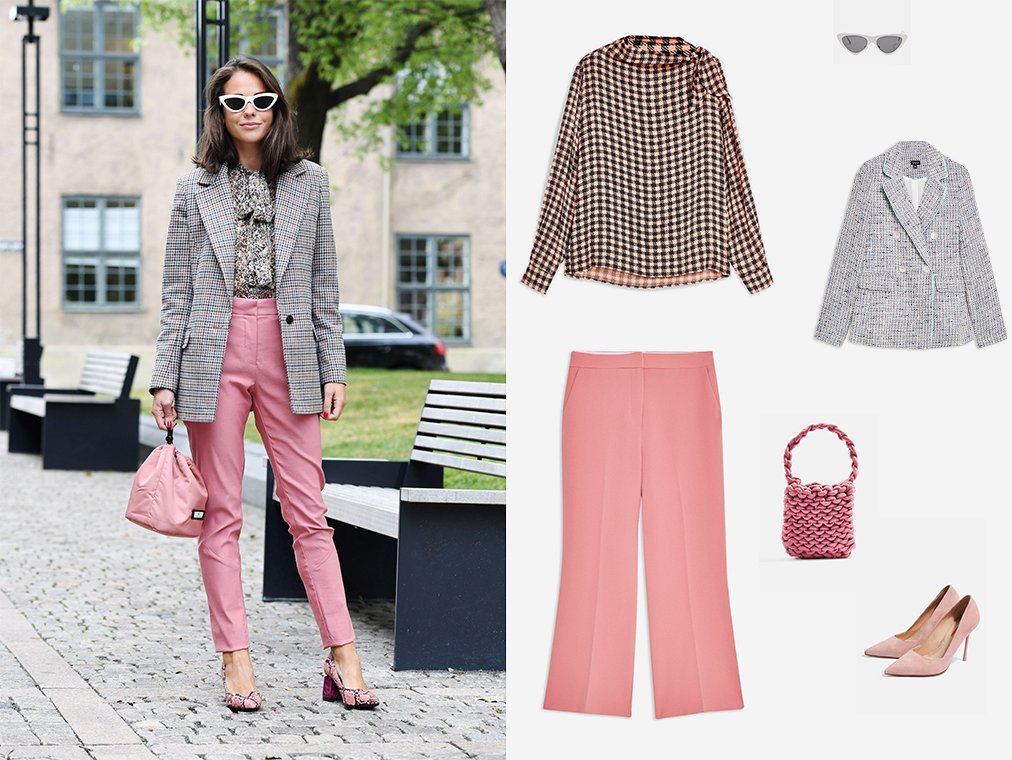 Shop Check Pussybow Blouse, Womens Kick Flare Trousers - Pink, Womens Metal Pointy Polly Sunglasses - Silver, Womens Button Boucle Jacket - Multi, Seattle Rope Tote Bag - Shop All Accessories - Bags & Accessories, Womens Gigi Court Heels - Pink and more