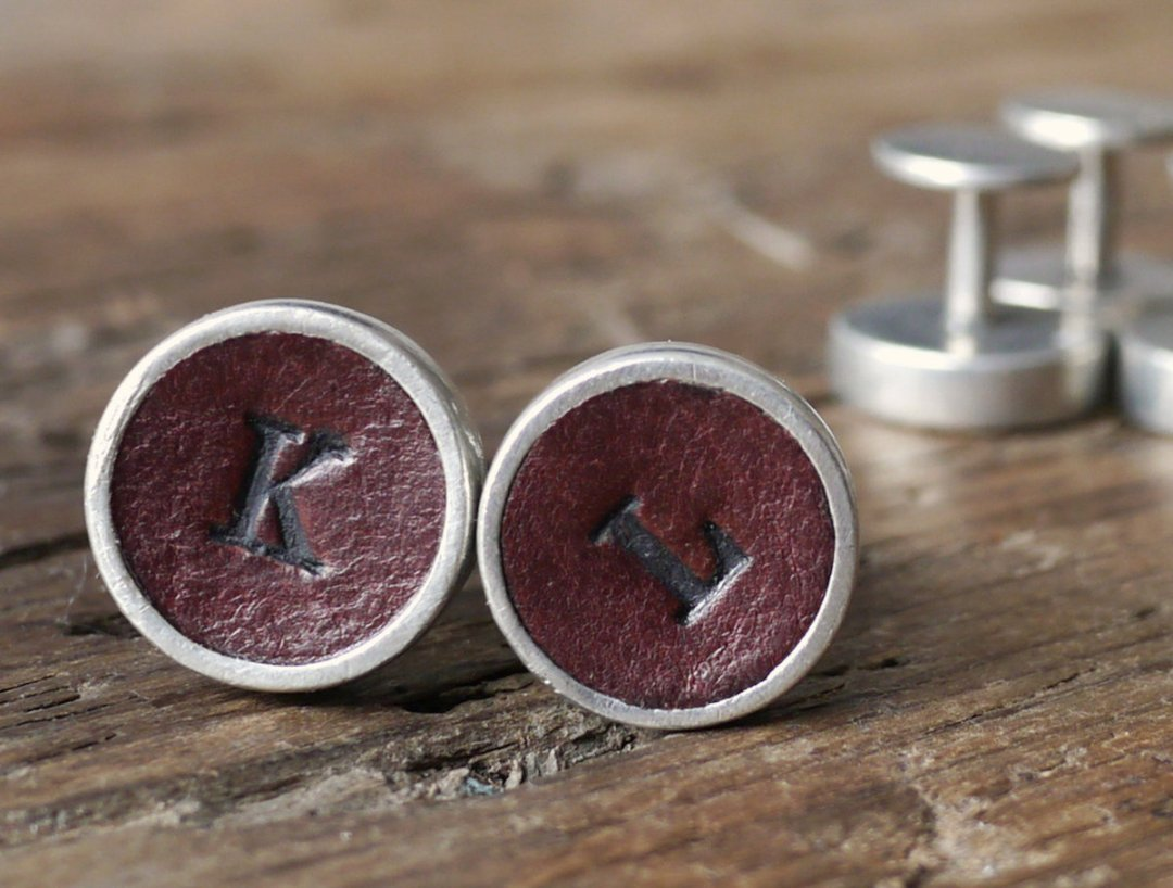 Personalized leather cufflinks from Kinglsey Leather