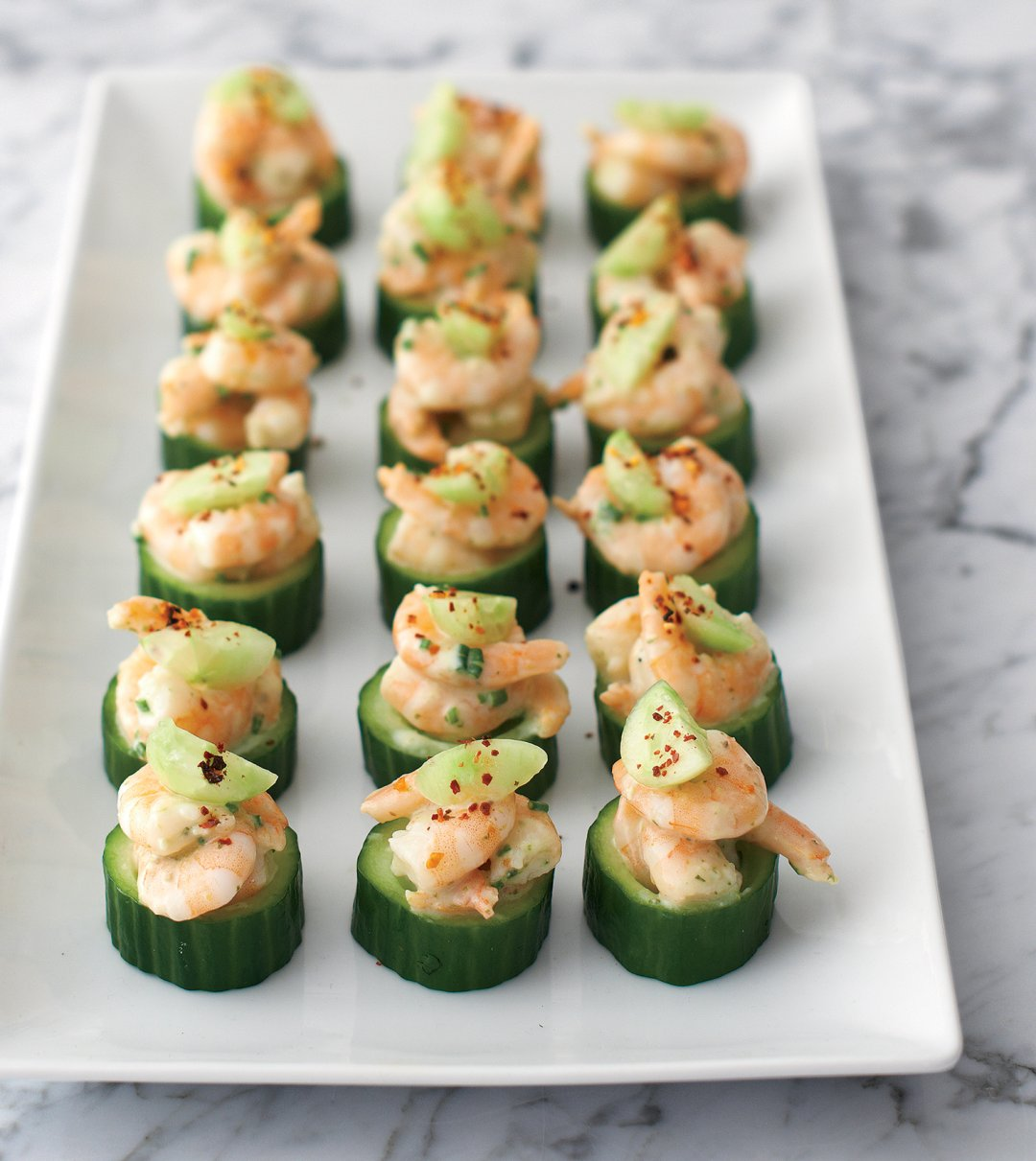 Cucumber and shrimp bite-sized appetizers fro wedding shower