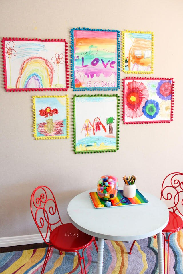 Love this gallery wall of kids art!