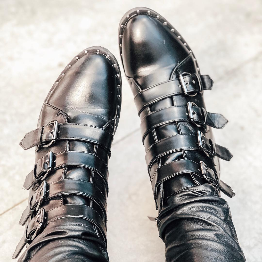d3f54de666a Women's Nikko Faux Leather Studded Combat Boot - A New Day Black ...