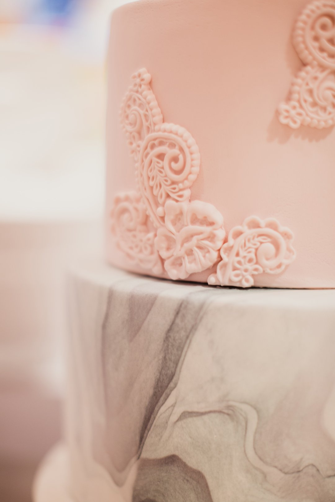 Pink and marble wedding cake at Crate and Barrel Private Registry Event