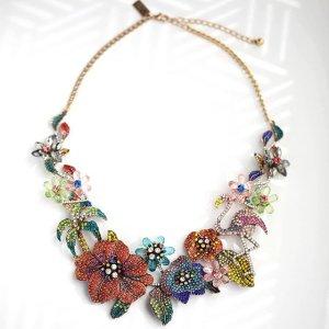 8da34ba3892b  jtv s image of Multicolor Crystal Antiqued Gold Tone Floral Statement  Necklace
