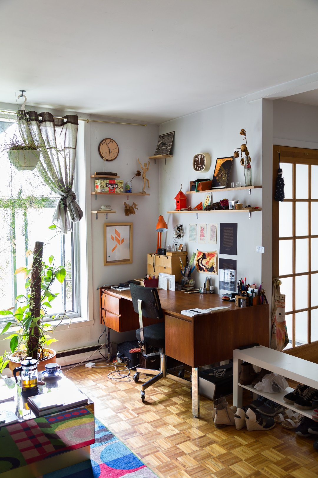 See the full house tour: A Warm, Quirky Modern Apartment in Montral's Mile  End