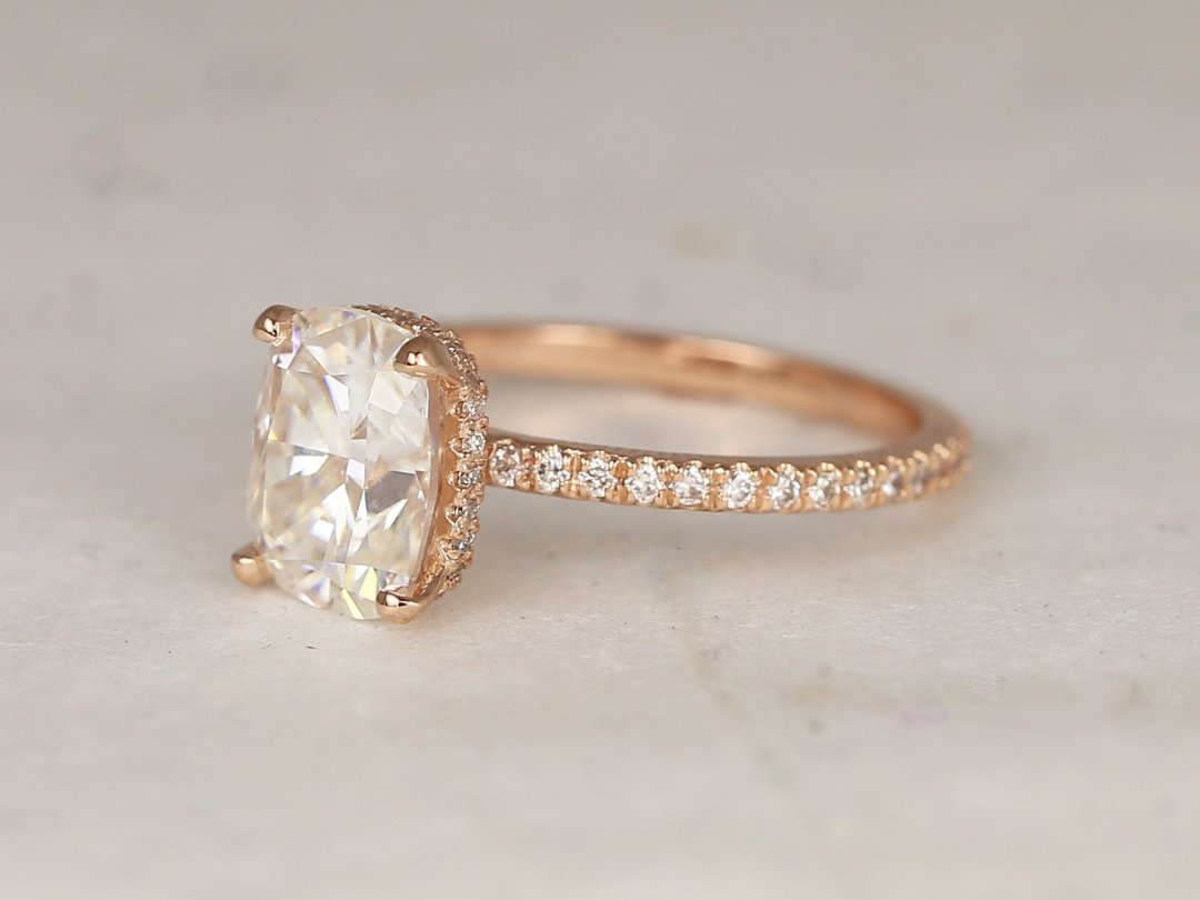 Side-view of Talia Rectangular Engagement Ring