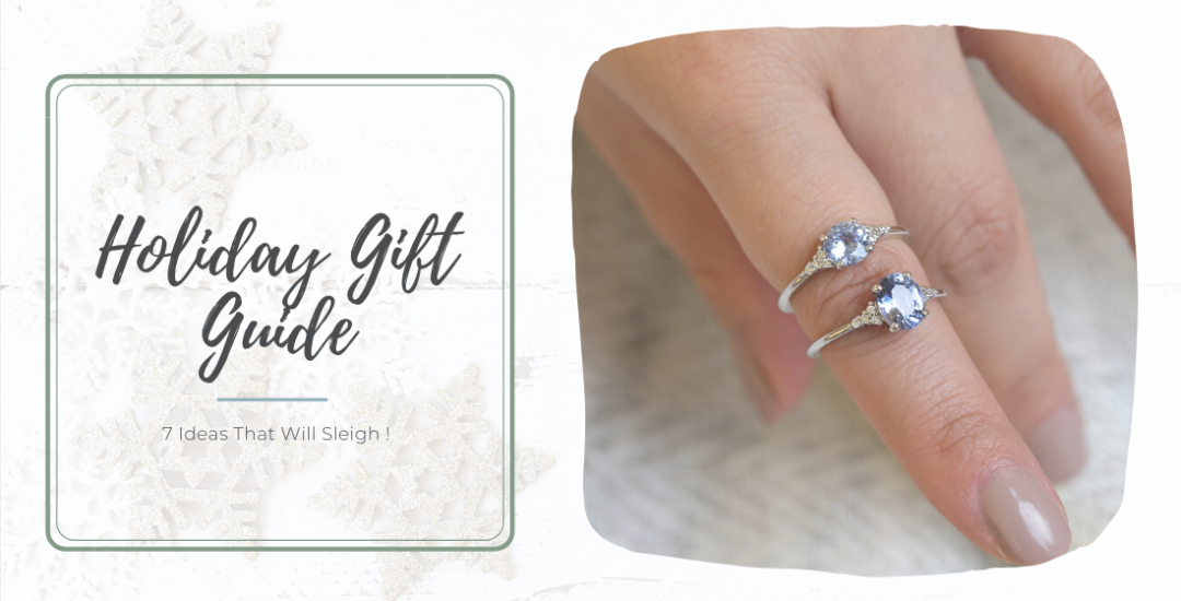 Holiday gift guide with two white gold rings with icy blue stones