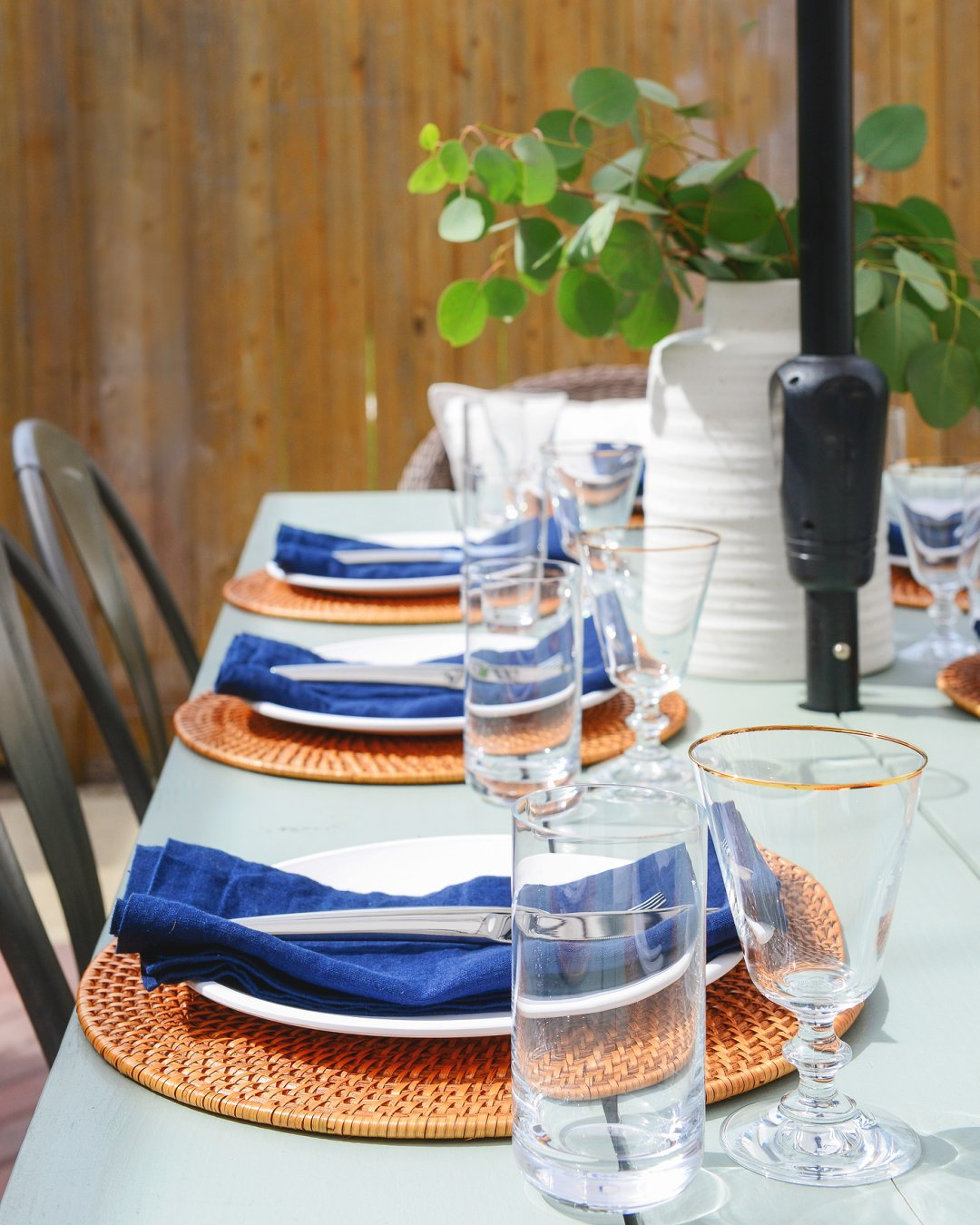 Side view of table set for brunch