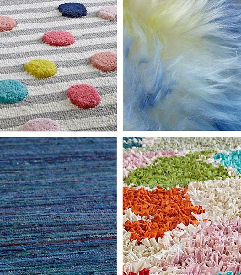 A collage of four different textured and patterned rugs.
