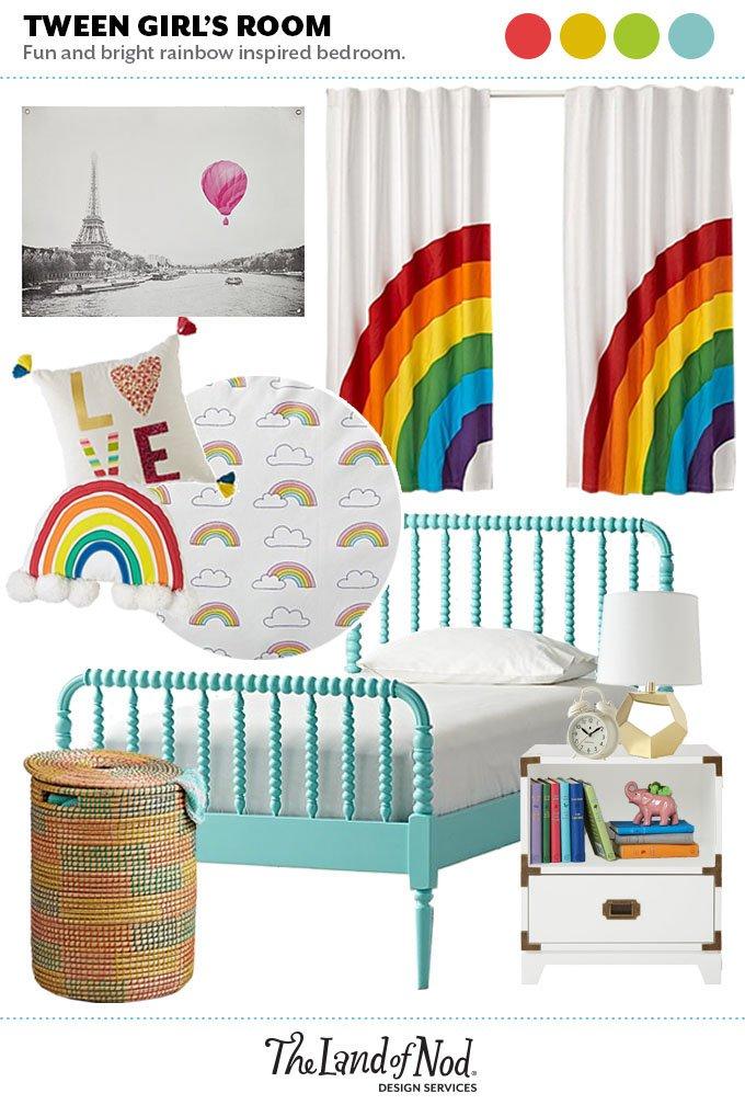 Tween Rainbow Bedroom   Honest to Nod