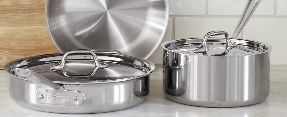 Stainless steel pots, pans and other cookware