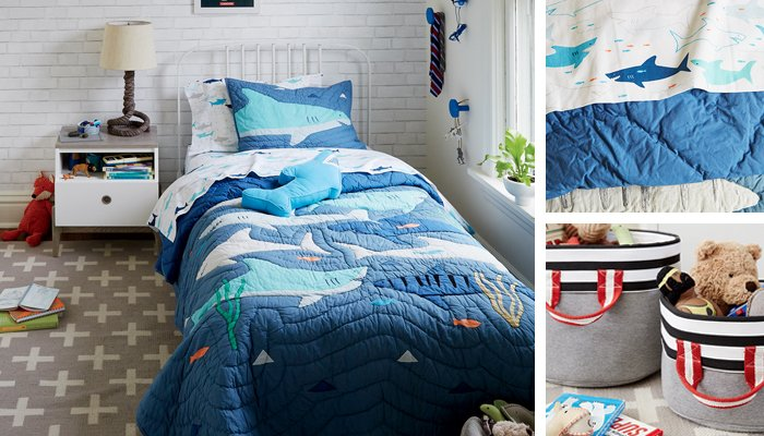 Shark Bait Bedding. Boys Bedroom Ideas   Themes   The Land of Nod