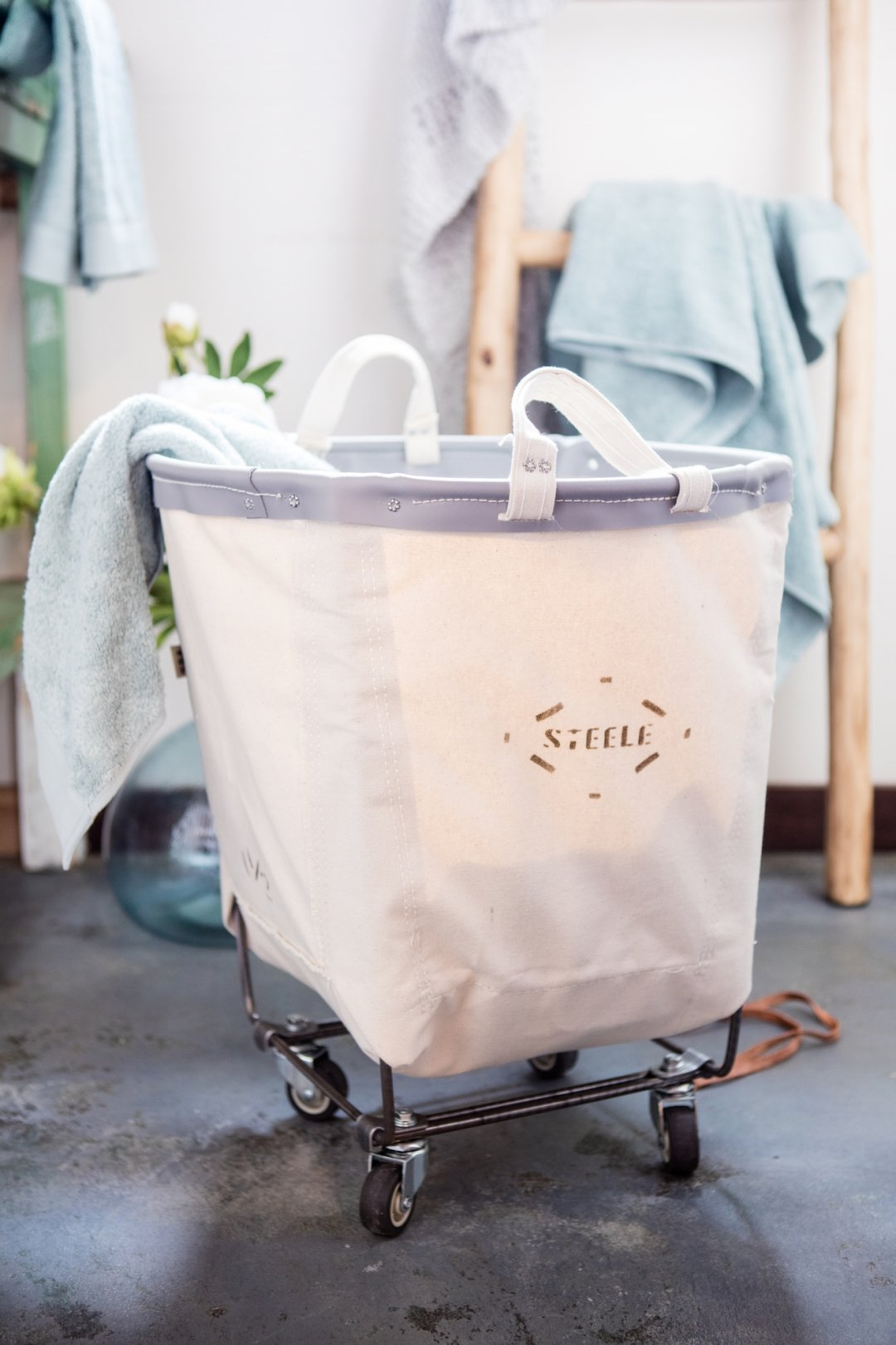 Laundry bin with towels
