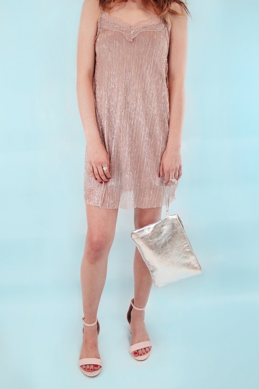 Shop Shiny pleated dress, Large metallic pouch, Single strap heels and more