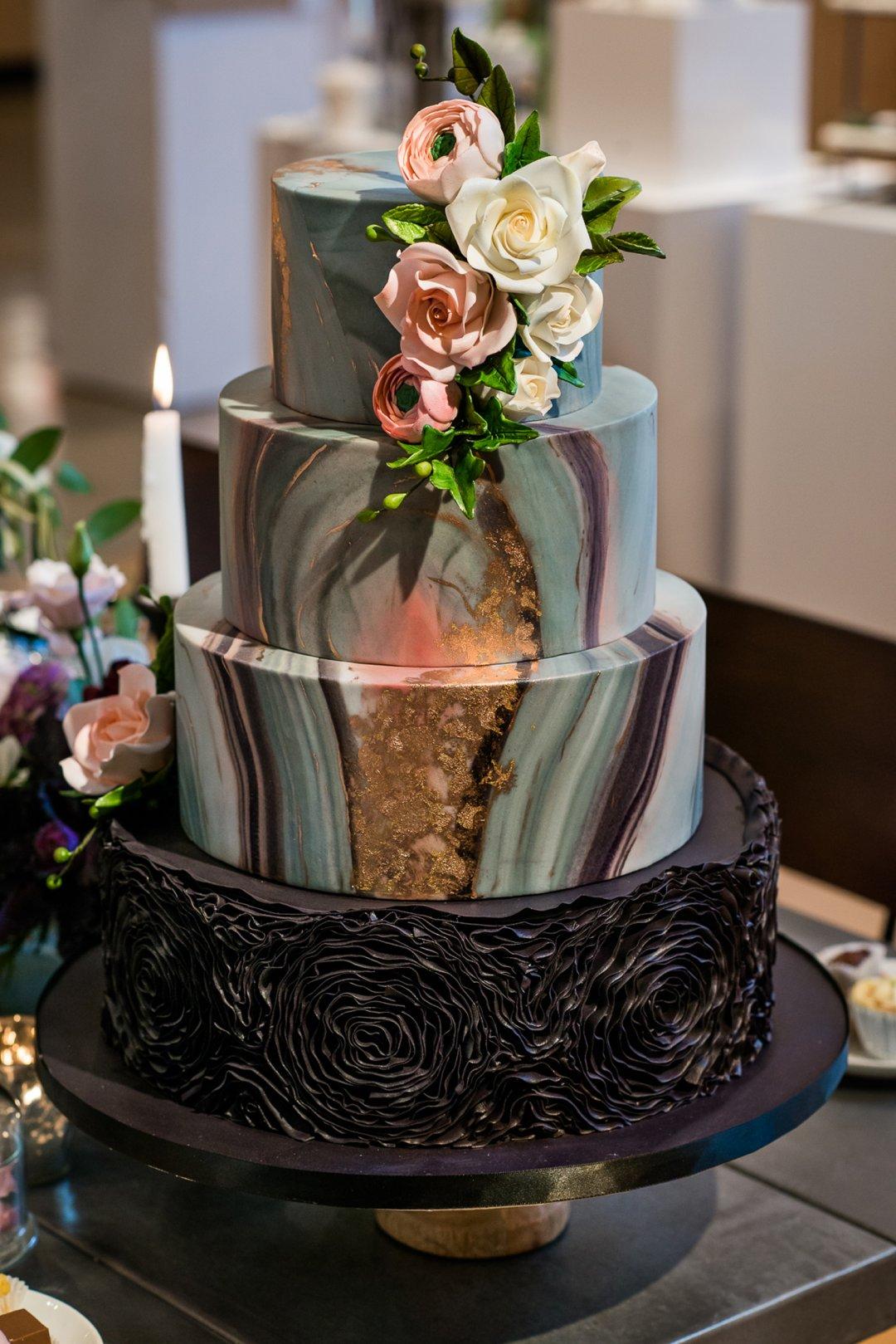 Three tier geo cake on display