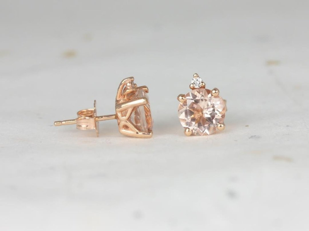 rose gold earring studs with round light peachy pink morganite stone
