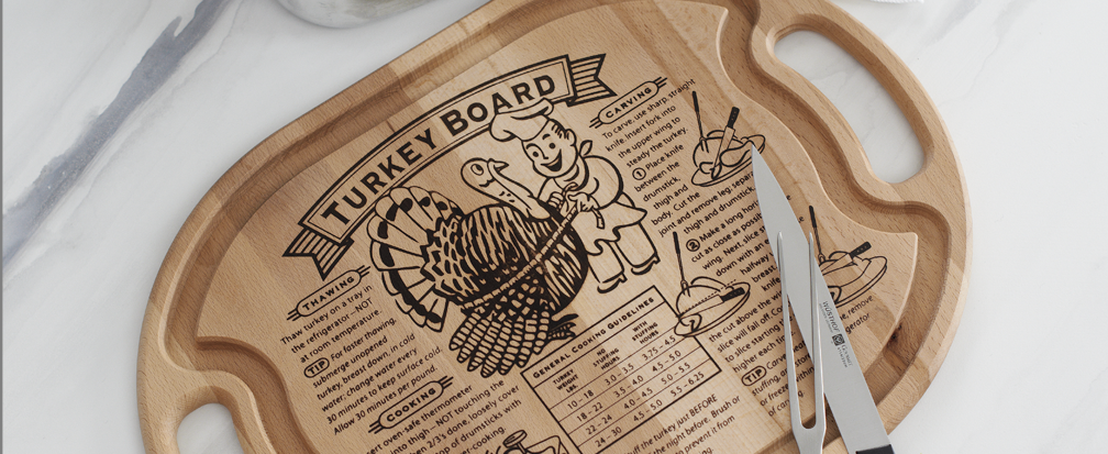 Wood Turkey cutting board with instructions and serving knife and fork