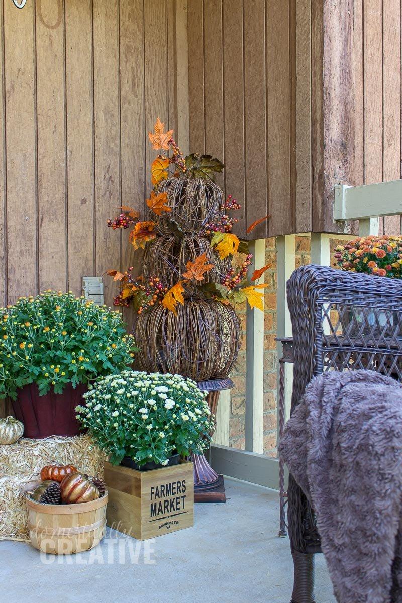 Cozy Fall Front Porch Domestically Creative