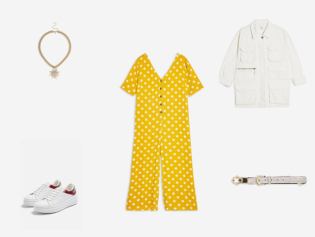 Shop Womens Spot Jumpsuit - Multi, Womens **Chunky Chain Sun Necklace - Gold, Womens White Longline Shacket - White, Womens Cuba Lace Up Trainers - Multi, Womens Geometric Link Belt - Cream and more