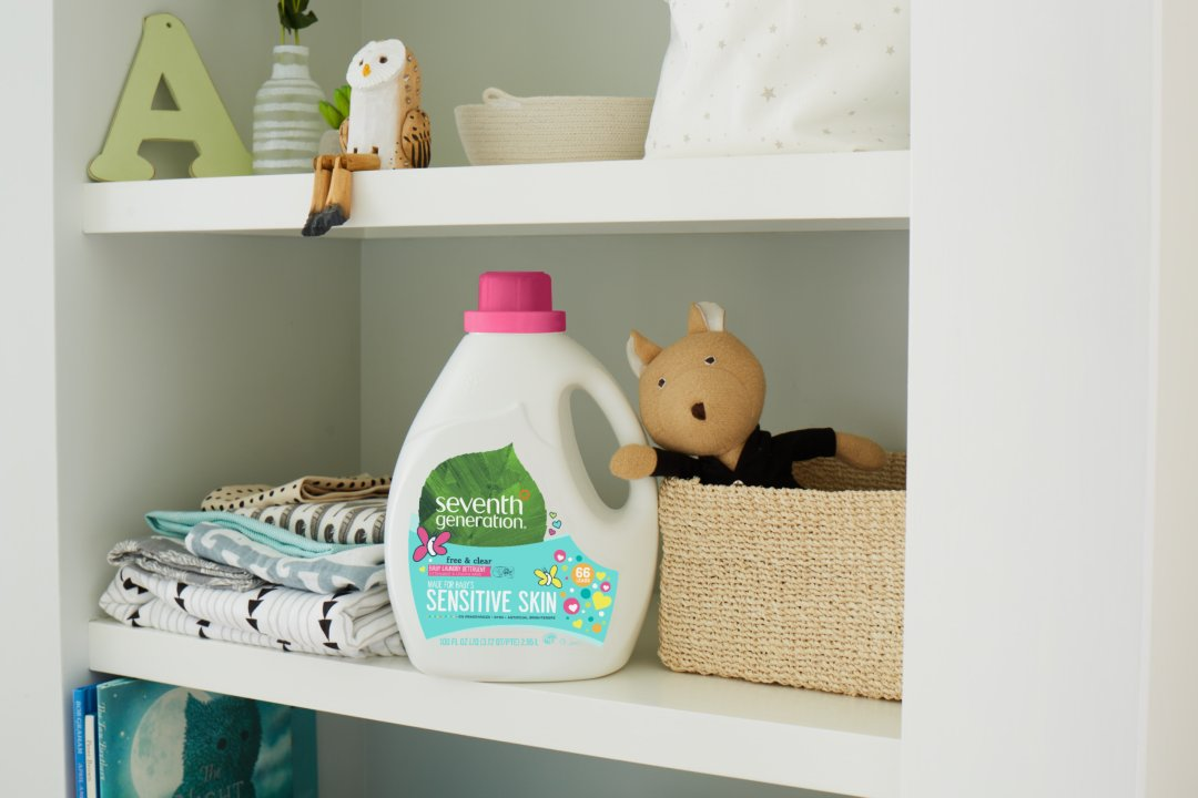 baby laundry detergent in nursery closet