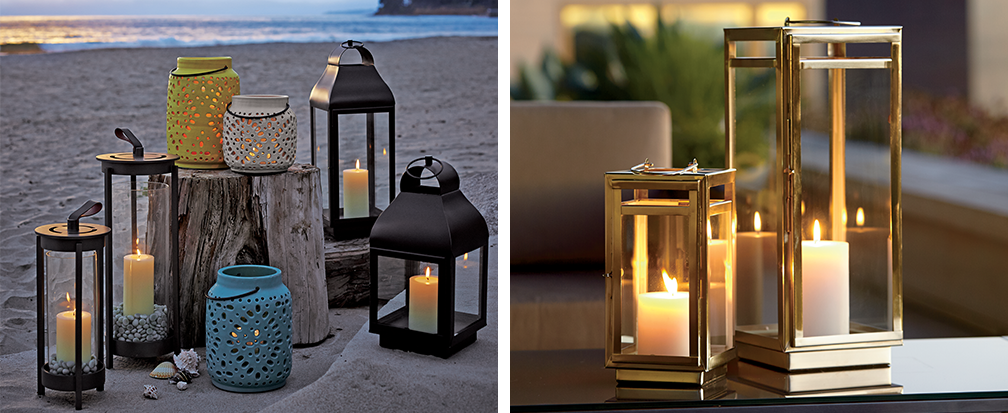 4 easy ways to add drama through outdoor lighting crate and barrel small and large outdoor lanterns on a beach aloadofball Gallery