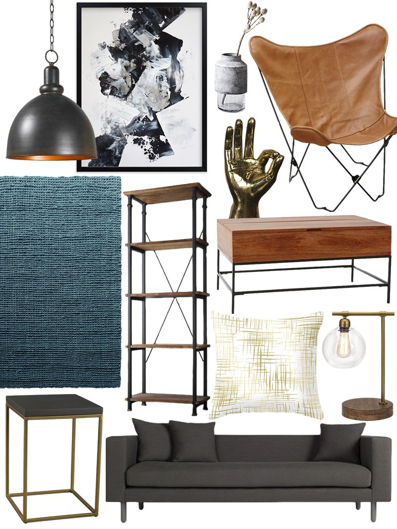 create the look warm industrial living room shopping guide - Industrial Living Room Decor