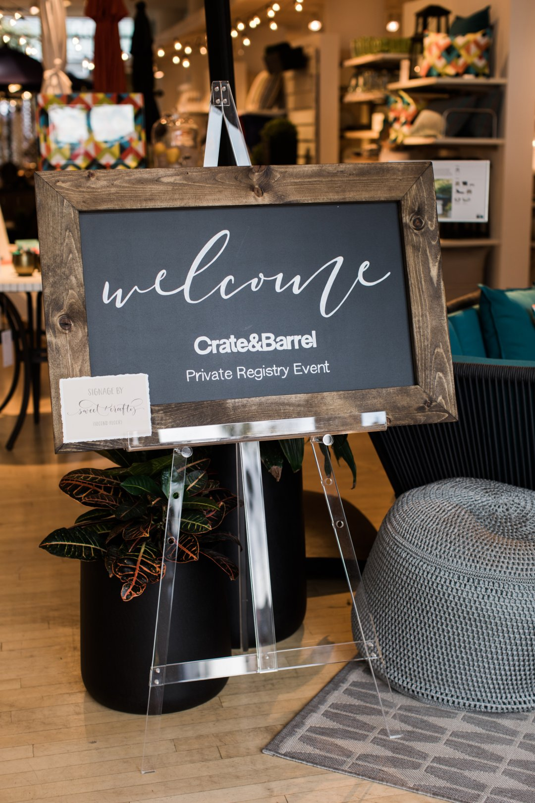 Crate and Barrel Private Registry Event welcome sign