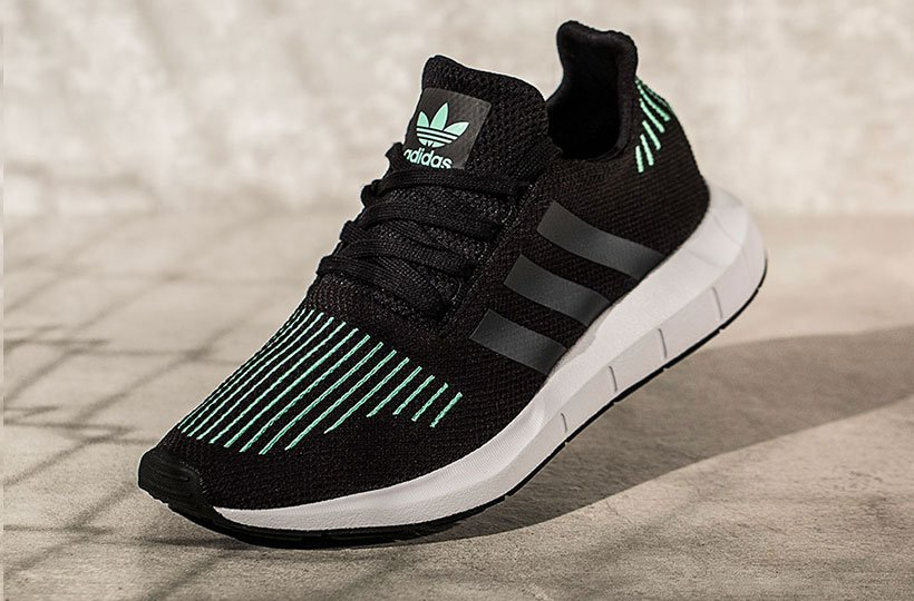 adidas Originals Swift Run Trainer - Black   Mint   White 121ac8a93ca52