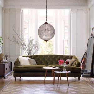 tufted sofa living room. Make your guests green with envy  Maeve sofa livingroom interiordesign homestyle 72 Upholstered Tufted Sofa in Como Olive Arhaus Furniture