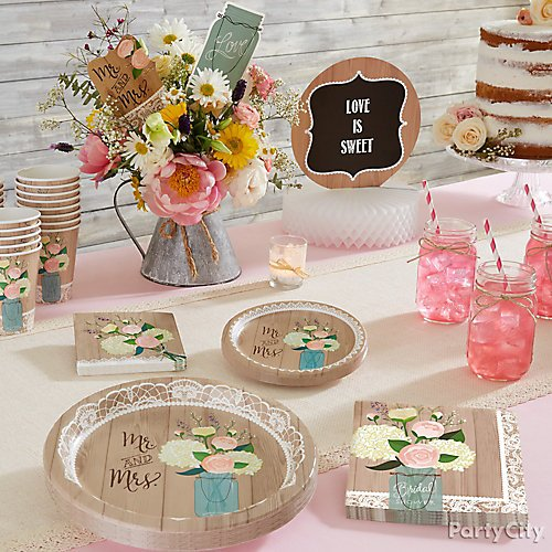 Rustic charm bridal shower party city shop rustic wedding honeycomb centerpiece rustic wedding centerpiece sticks 3ct clear glass mason jars 6ct and more junglespirit Images