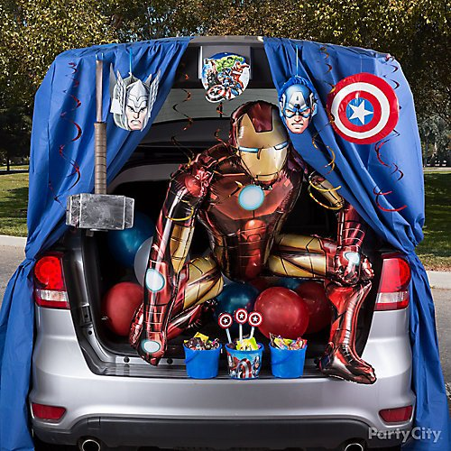 curated image with soft captain america shield thor hammer giant gliding iron man balloon
