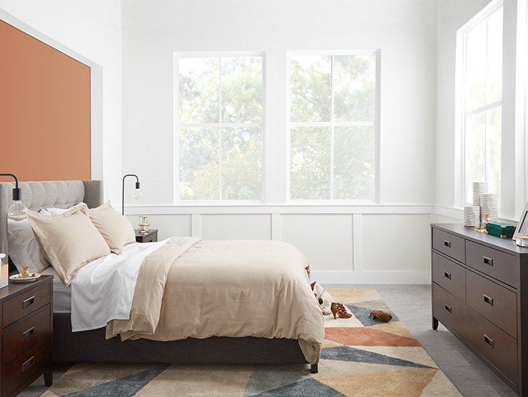Shop Chatham Pewter Low Platform Bed, Chatham Dark Tone Dresser, Chatham Dark Tone Nightstand, Carson Multicolored 7x10 Area Rug and more