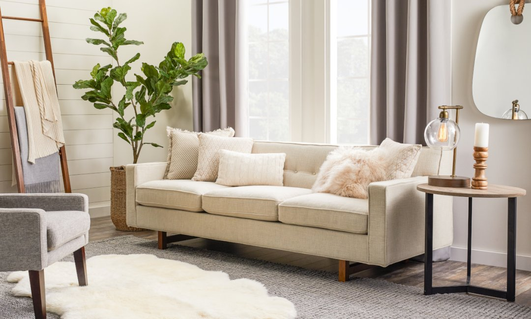 Cozy Hygge Home - Living room furniture with wood accents