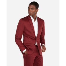 Shop Extra Slim Burgundy Cotton Sateen Stretch Suit Jacket Red Men's 38 Short and more