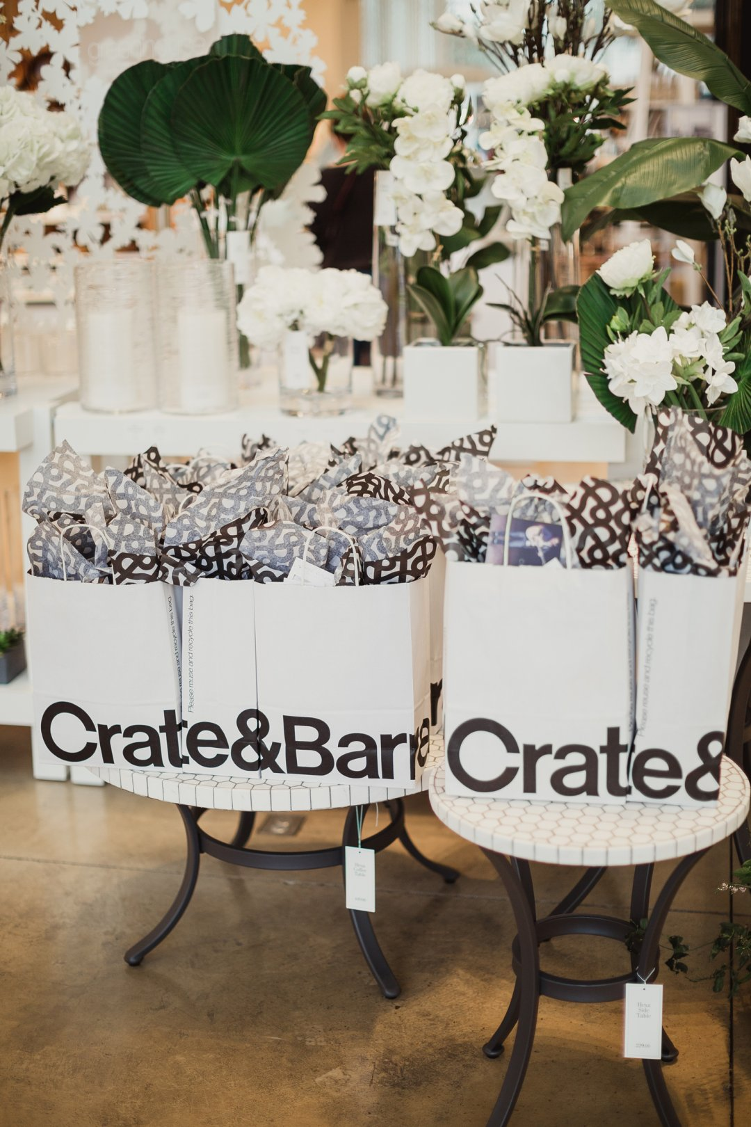 Crate and Barrel gift bags for couples who attended the event