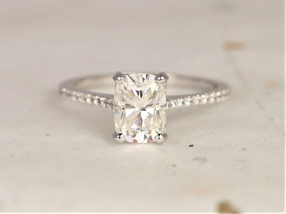 White Whitney Rectangular Engagement Ring