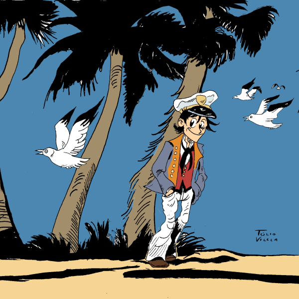 "I'm sending again this submission cause I did two tiny changes. The title of this  picture is ""One Piece: Ballad of the Salt Sea"". Luffy is dressed as Corto Maltese, the sailor created by great Italian graphic novel creator Hugo Pratt. It was made in the traditional way (pen and ink) and also in the computer (the colors were made in the GIMP and Medibang softwares)."