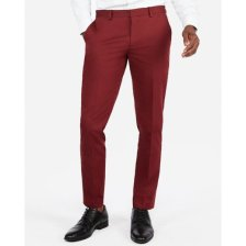 Shop Extra Slim Burgundy Cotton Sateen Stretch Suit Pants Red Men's W34 L30 and more