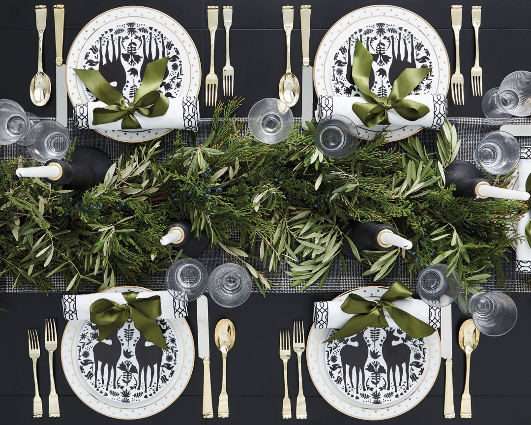 Shop Yuletide Accent Plates - Set of 4, Bunny Williams Paris Flea Market 20-Piece Flatware Set, Faux Berry Garland, Cecilia Taper Candle Holders, Bunny Williams Spiral Wine Glasses - Set of 4, Selene Dinner Napkins - Set of 4, Bunny Williams Gold Star Dinner Plate - Set of 4 and more